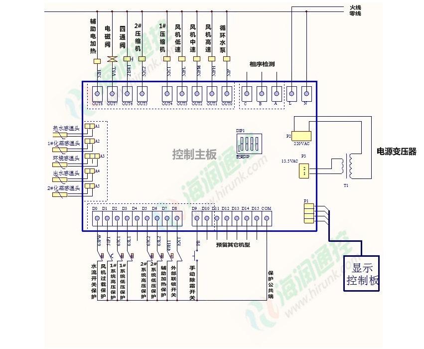 空气能热水机,空气源热泵热水器_通用型电路板电路图,接线图