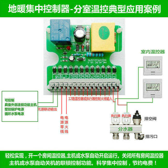 地暖中央集线盒,地暖集中控制接线图